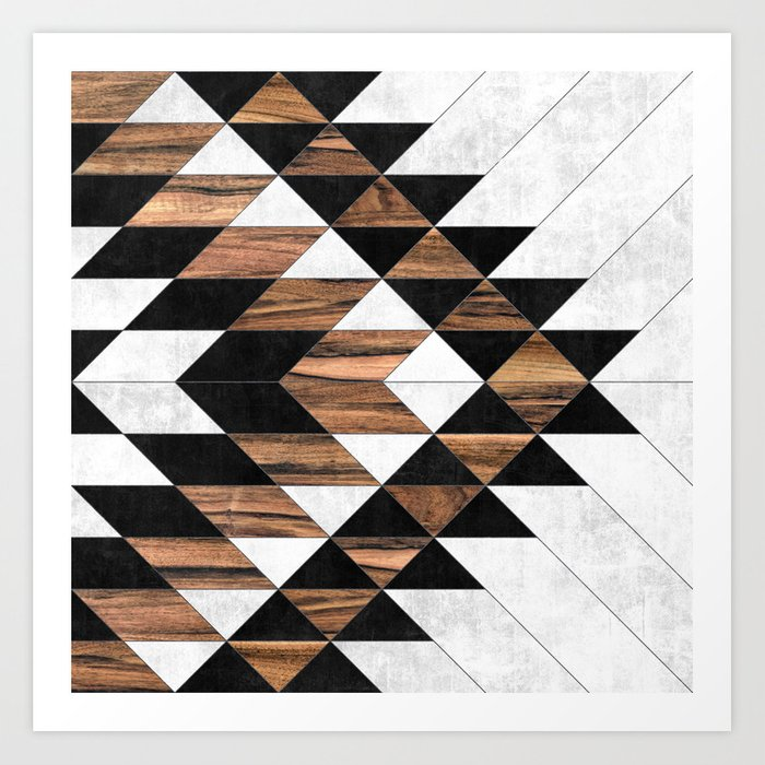 Urban Tribal Pattern No.9 - Aztec - Concrete and Wood Kunstdrucke