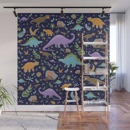 Dinosaurs at Night Wall Mural
