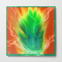 Exhale in Green Metal Print
