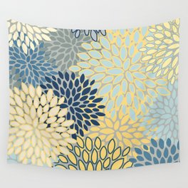 Floral Print, Yellow, Gray, Blue, Teal Wall Tapestry