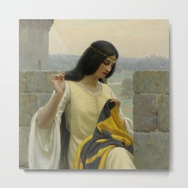 "Edmund Blair Leighton ""Stitching the Standard"" Metal Print"