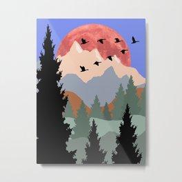 Mountain Geese Scene Metal Print