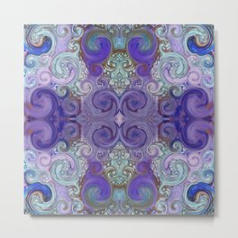 Abstract Purple and Turquoise Mandala Design 750 Metal Print
