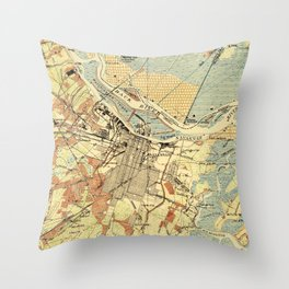 Vintage Map of Savannah Georgia (1942) Throw Pillow