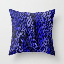 Authentic Aboriginal Art - Grass (Blue) Throw Pillow
