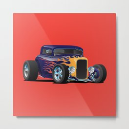 Vintage Hot Rod Car with Classic Flames Metal Print