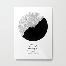 Toronto Area City Map, Toronto Circle City Maps Print, Toronto Black Water City Maps Metal Print