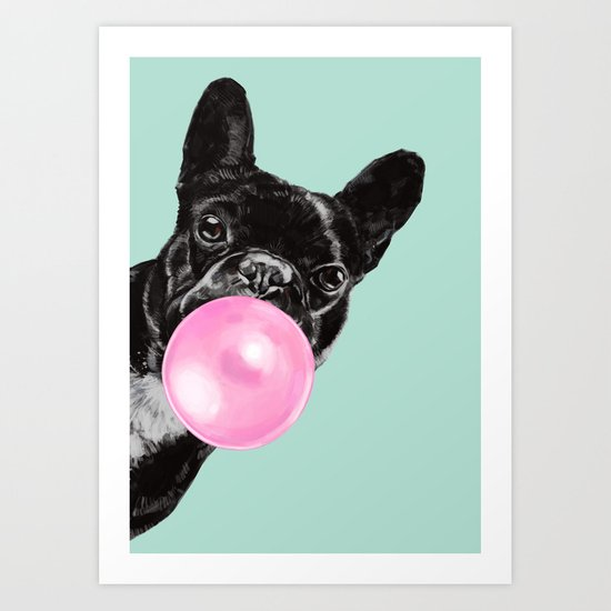 Bubble Gum Sneaky French Bulldog in Green by bignosework