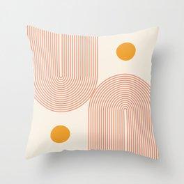 Abstraction_SUN_DOUBLE_LINE_POP_ART_Minimalism_001C Throw Pillow