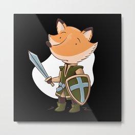 Afraid Fox With Knight Armor Metal Print