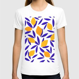 Blue and yellow Lemon Summery Pattern T-shirt