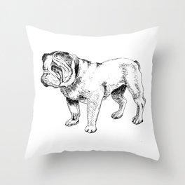 Bulldog Ink Drawing Throw Pillow