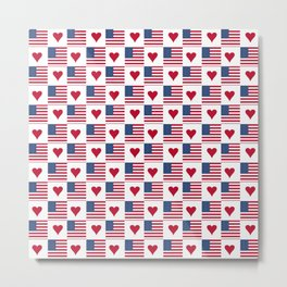flag of the usa 9 with heart Metal Print