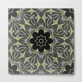 Gold & Green on Black Mosaic Tile Metal Print