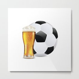 Beer and Soccer Ball Metal Print