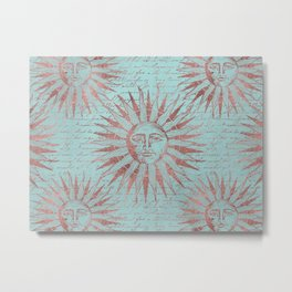 Ancient Sun Face Copper And Teal Metal Print