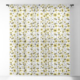 Honey Bumble Bee Yellow Floral Pattern Sheer Curtain