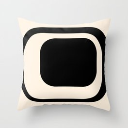 Mod 3 Minimalist Black and Almond Cream Modern Retro Abstract Throw Pillow