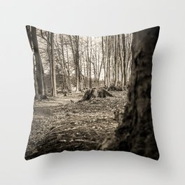 Moss Covered Tree Stump Hiking Path Forest sepia Throw Pillow