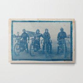 Cyanotype Photo of The-Davidson Wrecking Crew, Ascot Park, January 1920 3 Metal Print