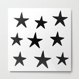 Star Pattern Black On White Metal Print