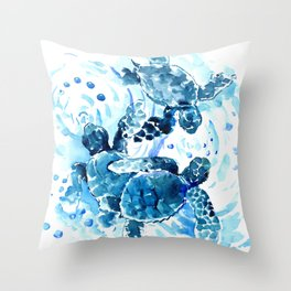 Three Sea Turtles, blue bathroom turtle artwork, Underwater Throw Pillow