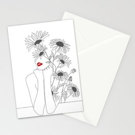 Minimal Line Art Girl with Sunflowers Stationery Cards