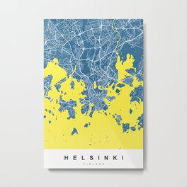 Helsinki Map | Blue & Yellow | More Colors, Review My Collections Metal Print