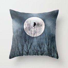 Night Raven Lit By The Full Moon Throw Pillow