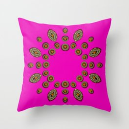 Sweet hearts in  decorative metal tinsel Throw Pillow