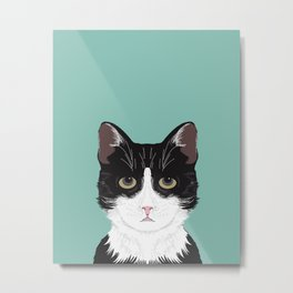 Quinn - Cute black and white cat tuxedo cat gifts for cat lady gift ideas cell phone case with cat Metal Print