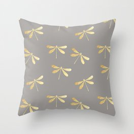 dragonfly pattern: gold & grey Throw Pillow