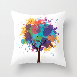 Colorful Tree Throw Pillow