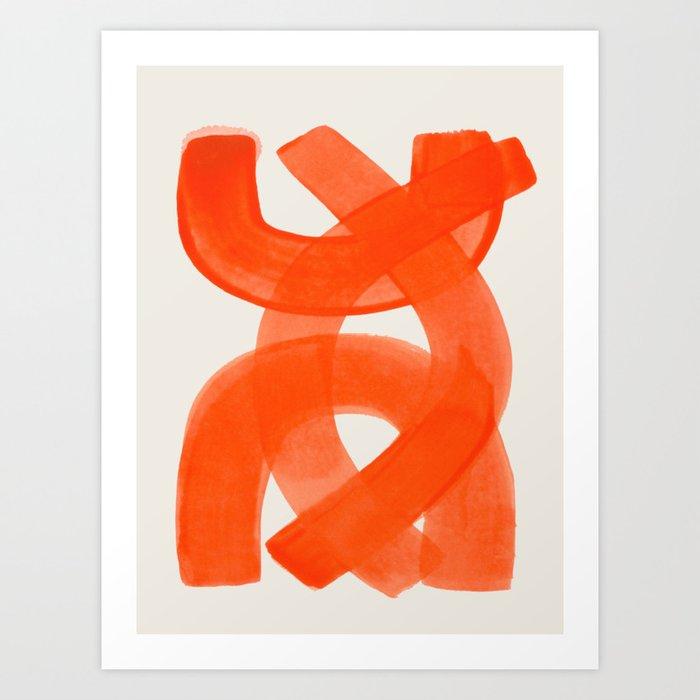 Mid Century Modern Abstract Painting Orange Watercolor Brush Strokes Kunstdrucke
