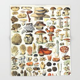 Adolphe Millot - Champignons A - French vintage poster Throw Blanket
