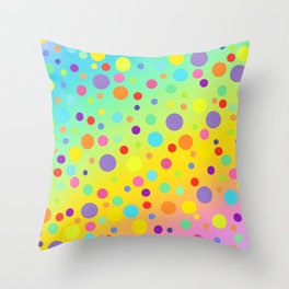 Gorgeous Rainbow Gradient with Colorful Polka Dots Throw Pillow