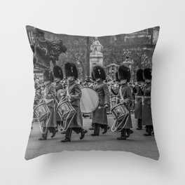 Welsh Guard Fife and Drum during the Changing of the Guard London England Black and White Throw Pillow