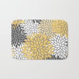 Modern Elegant Chic Floral Pattern, Soft Yellow, Gray, White Bath Mat
