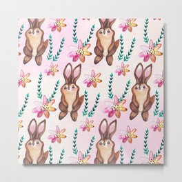 Cute easter pattern with rabbits Metal Print