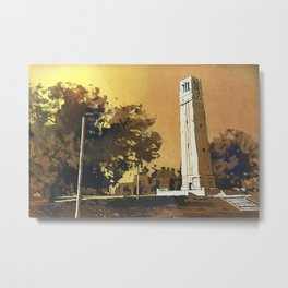Watercolor painting of the North Carolina Statue University Bell-Tower in Raleigh, NC at dusk. Metal Print
