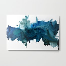 Change: A minimal abstract acrylic painting in blue and green by Alyssa Hamilton Art Metal Print