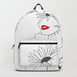 Minimal Line Art Girl with Sunflowers Backpack
