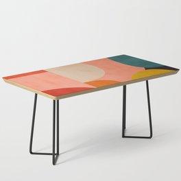 geometry shape mid century organic blush curry teal Coffee Table