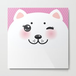Cute Cartoon Kawaii funny white cat muzzle with pink cheeks and wink eyes on a lilac. Nursery decor Metal Print