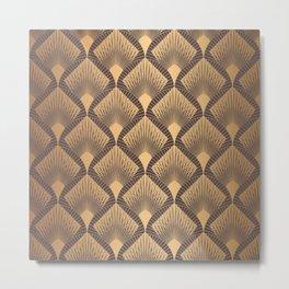 Art Deco Pattern. Seamless golden background. Scales geometric design. Vintage line design. 1920-30s motifs. Luxury vintage illustration Metal Print