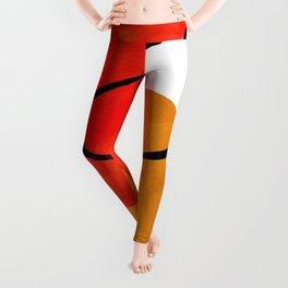 Mid Century Modern Abstract Vintage Pop Art Space Age Pattern Orange Yellow Black Orbit Accent Leggings