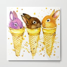 Rabbit and ice cream T-shirt graphics. Rabbit and ice cream illustration with splash watercolor tex Metal Print