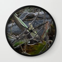Alligator Concealed in Brush on Bank of Swamp Wall Clock