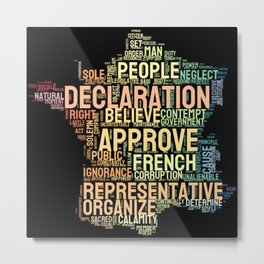 Word Cloud 1 - The Declaration of the Rights of Man and of the Citizen Metal Print