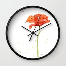 Red Poppy Flower Watercolor Wall Clock